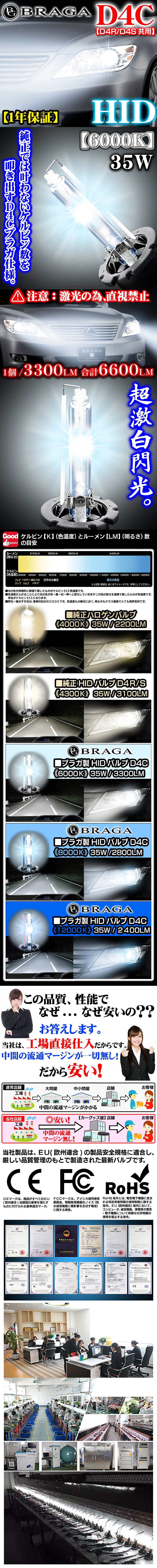 《6000K》D4C[D4R・D4S共用]タイプ1【2個セット】純正交換HIDバルブ/バーナー/ブラガ