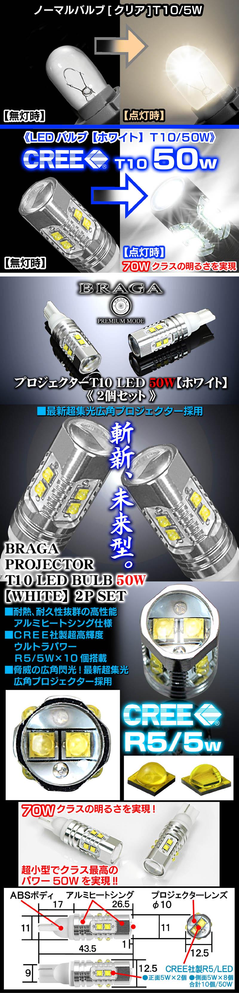 T10/T16 50W ポジション/スモールランプ CREE製LEDプロジェクターバルブ【ホワイト/白】70Wクラスの光を実現《2個》1年保証/ブラガ