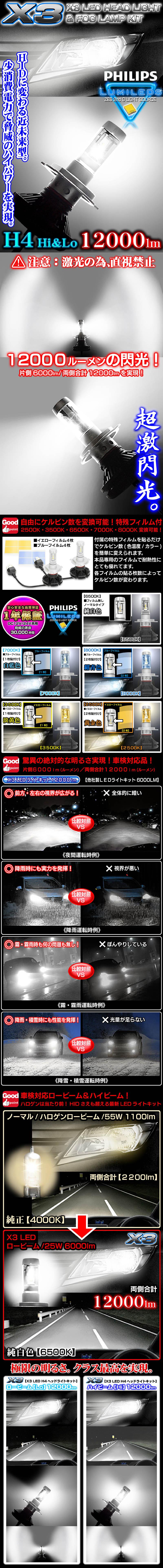 《車検対応 》X3 12000LMフィリップス製LEDヘッドライトキット【H4 Hi/Lo切換式】25W/6500K 2個セット