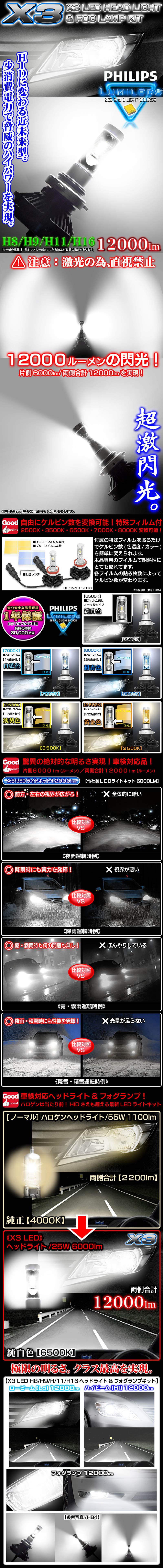 《車検対応 》【H8/H9/H11/H16共用】X3 12000LMフィリップス製LEDヘッドライト&フォグランプキット50W/6500K 2個セット/1年保証