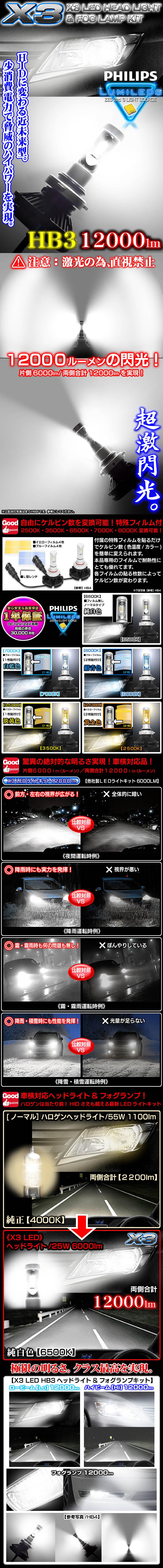 《車検対応 》X3 12000LMフィリップス製LEDヘッドライト&フォグランプキット【HB3】50W/6500K 2個セット