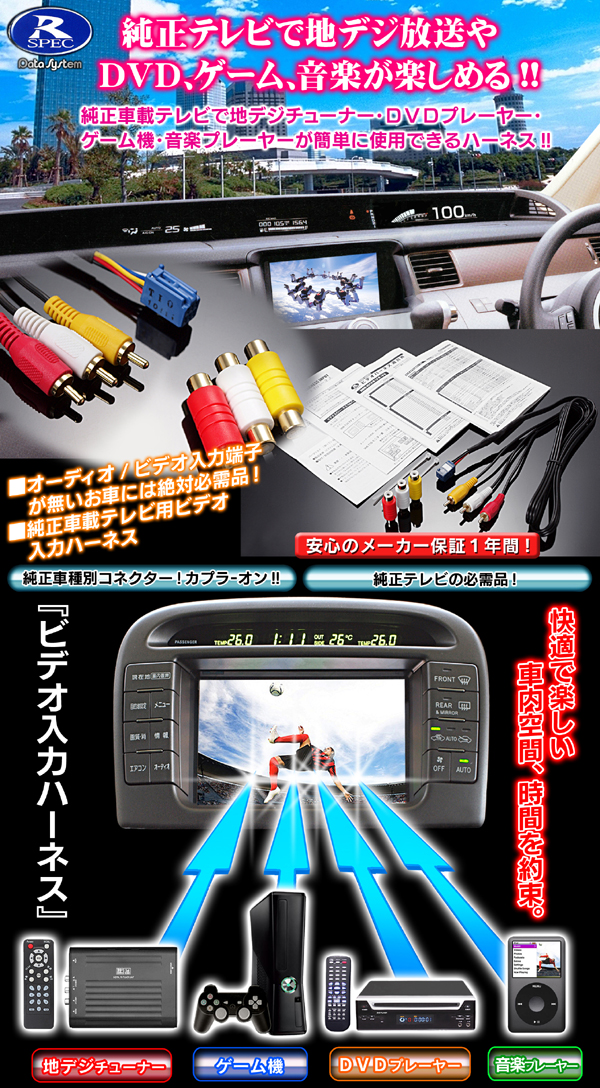 【ビデオ入力ハーネス《プリウス(HDDナビシステム&スーパーライブサウンドシステム8スピーカー)ZVW30(H21.5〜】VHI-T19・データシステム】
